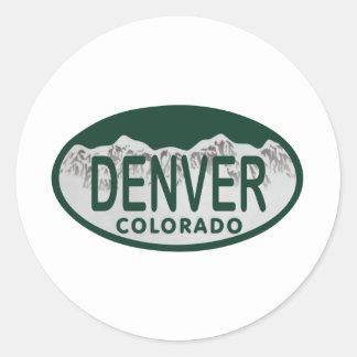 Denver License oval Classic Round Sticker