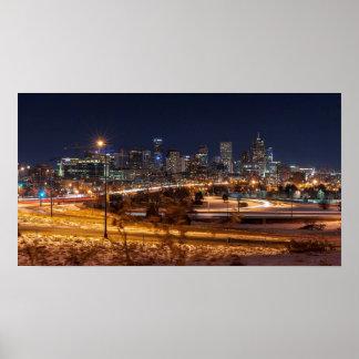 Denver Night Skyline Poster