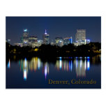 Denver Night Skyline Reflection Post Cards