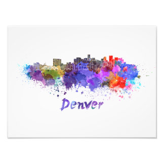 Denver skyline in watercolor photo