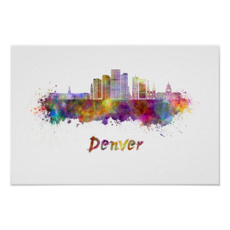 Denver skyline in watercolor poster