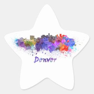 Denver skyline in watercolor calcomania forma de estrella personalizada