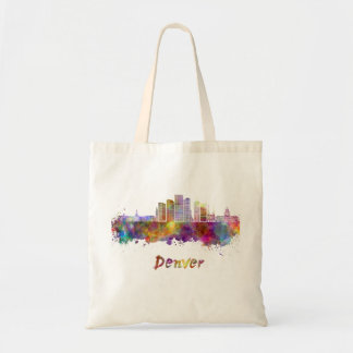 Denver skyline in watercolor tote bag