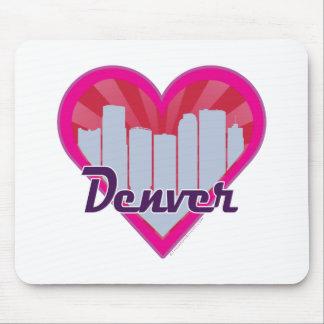 Denver Skyline Sunburst Heart Mouse Pad