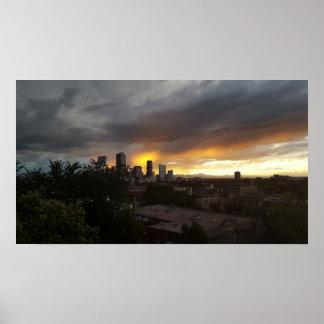 Denver Skyline Sundown Poster