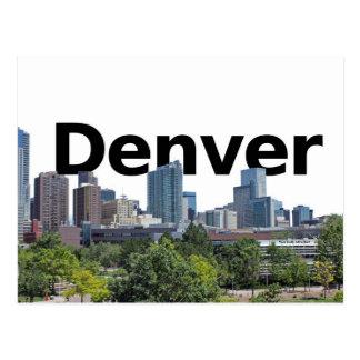 Denver Skyline with Denver in the Sky Postcard