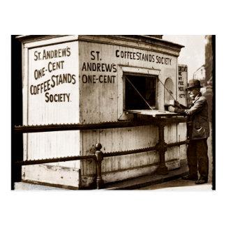 Depression Era One Penny Coffee Stand Postcard