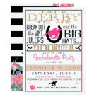 Derby Bachelorette Black/Gold/Pink Roses Custom Card