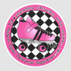 Derby Chicks Roll With It - Hot Pink Black White Classic Round Sticker