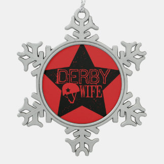 Derby Wife, Roller Derby Snowflake Pewter Christmas Ornament