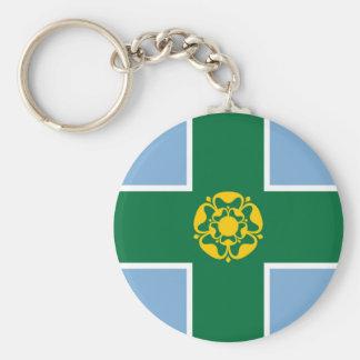 Derbyshire flag england county british region basic round button key ring