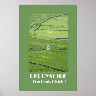 Derbyshire Peak District 1920s retro-style poster