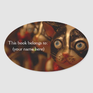 Derp cat bookplate, round oval sticker