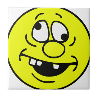 Derp Smiley Face Small Square Tile