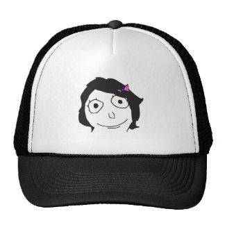 Derpina Black Hair Brunette Rage Face Meme Cap