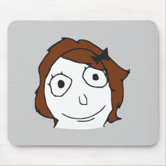 Derpina Brown Hair Rage Face Meme Mouse Pad