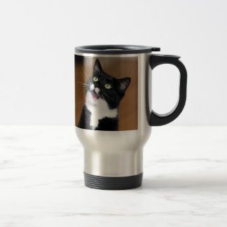 Derpy Cat Making a Silly Face Travel Mug