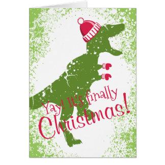 Derpy t-rex dinosaur Christmas hat mittens Card