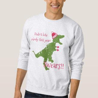 Derpy t-rex dinosaur Christmas hat mittens Sweatshirt