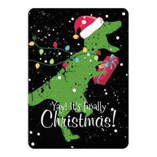Derpy t-rex dinosaur Christmas lights present Card