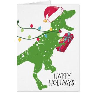 Derpy t-rex dinosaur Christmas lights Santa hat Card