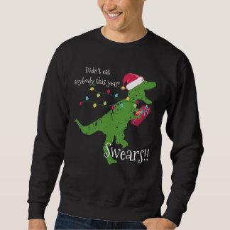 Derpy t-rex dinosaur Christmas lights Santa hat Sweatshirt