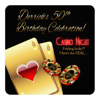 Derrick's Vegas Casino Night 50th Birthday Party Card