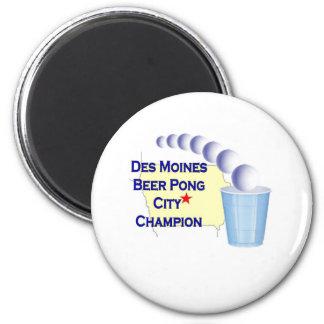 Des Moines Beer Pong Champion Fridge Magnet