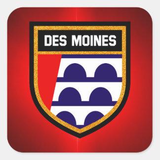 Des Moines Flag Square Sticker