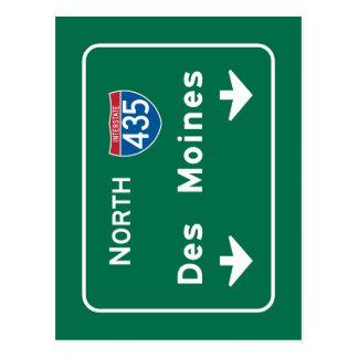 Des Moines, IA Road Sign Postcard
