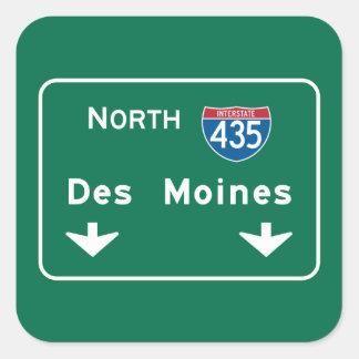 Des Moines, IA Road Sign Square Sticker
