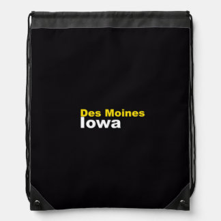 Des Moines, Iowa Drawstring Backpack
