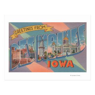 Des Moines, Iowa - Large Letter Scenes 3 Postcard