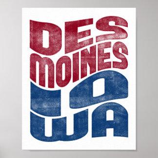 Des Moines Iowa Poster City State Art Print