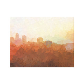 DES MOINES, IOWA SKYLINE - In the Clouds Canvas