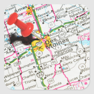 Des Moines, Iowa Square Sticker