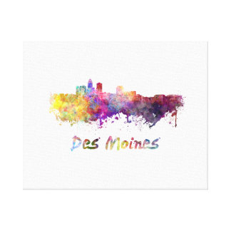 DES Moines skyline in watercolor Canvas Print