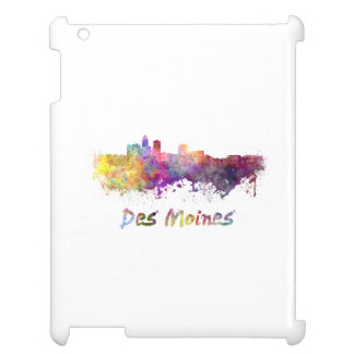 DES Moines skyline in watercolor Case For The iPad 2 3 4