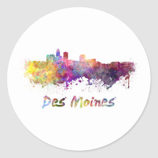 DES Moines skyline in watercolor Classic Round Sticker