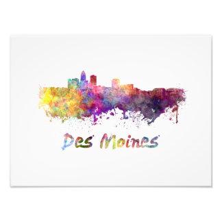 DES Moines skyline in watercolor Photo Art