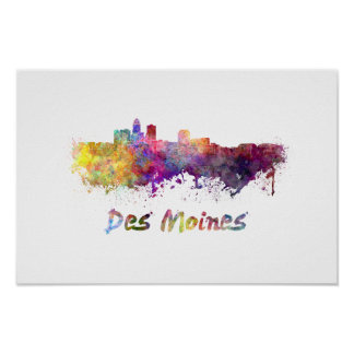 DES Moines skyline in watercolor Poster
