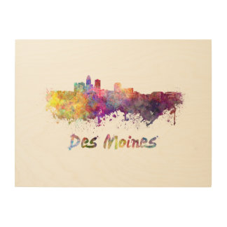 DES Moines skyline in watercolor Wood Canvas