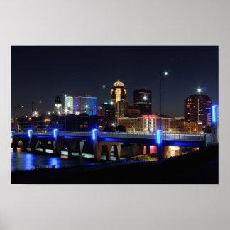 Des Moines Skyline with Orlando Memorial Poster