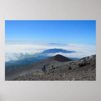 Descending Mt. Fuji Poster
