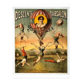Descente d Absalon par Miss Stena Vintage Circus Postcard