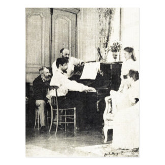 Descri??o Claude Debussy ao piano no ver?o de 1893 Postcard