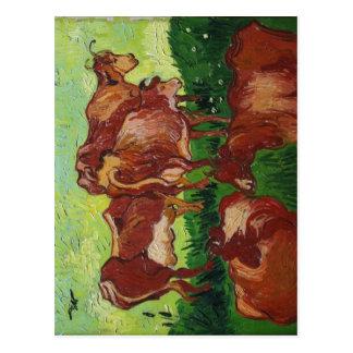 Description Les vaches de Van Gogh au Palais des B Postcard