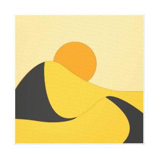 desert abstract flat landscape yellow orenge canvas print