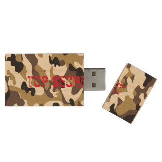 Desert Army Air Force Camouflage USB Flash Drive Wood USB 2.0 Flash Drive