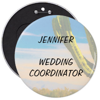 Desert Cactus Blue Sky Wedding Coordinator 6 Cm Round Badge